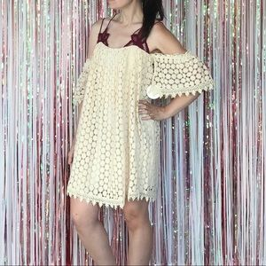 NWT Tularosa crochet lace off shoulder mini dress